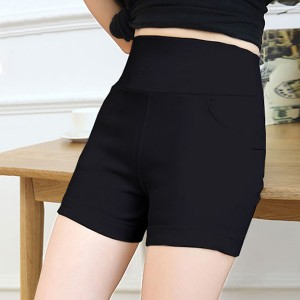 Solid Color Body Fitted Duo Pocket Mini Shorts - Black