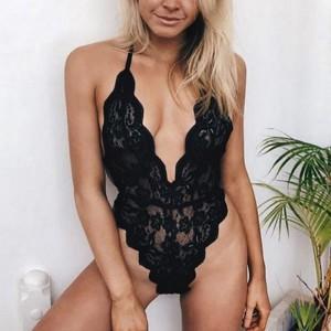 Lace Thread Art Body Fitted Halter Bodysuit - Black