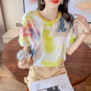 Mesh Print Round Neck Loose Wear Summer Top - Yellow