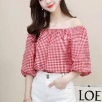 Geometric Print Off Shoulder Loose Wear Summer Top - Red
