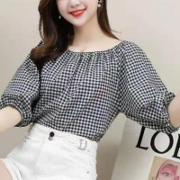 Geometric Print Off Shoulder Loose Wear Summer Top - Black and White