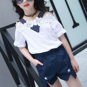 Floral Patch Polka Dotted Two Piece Matching Sets - Dark Blue