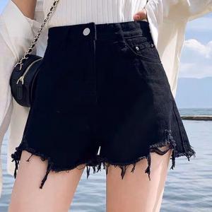 Button Closure Tassel Ripped Style Denim Shorts - Black