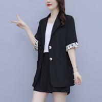 Contrast Suit Neck Button Closure Two Pieces Suit - Black