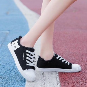 Shreded Thread Lace Closure Flat Sole Sneakers - Black