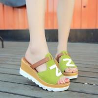 Thick Bottom Vintage Fashion Stylish Heel Midi Sandals - Green