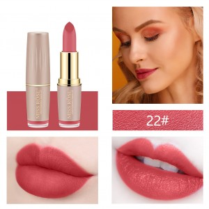 Long Lasting Waterproof Moisturizing Solid Color Lipstick 22 - Berry Red