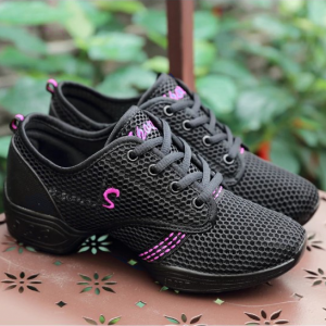 Mesh Lace Closure Thick Sole Casual Wear Sneakers - Black