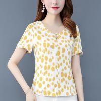 V Neck Digital Print V Neck Short Sleeves Blouse Top - Yellow