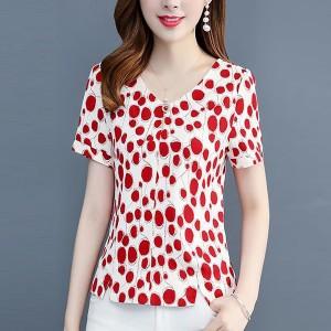 V Neck Digital Print V Neck Short Sleeves Blouse Top - Red