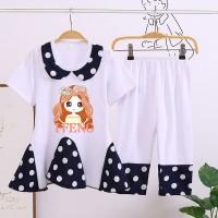Doll Neck Polka Dot Two Piece Girls Matching Sets - White