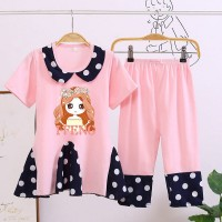 Doll Neck Polka Dot Two Piece Girls Matching Sets - Pink