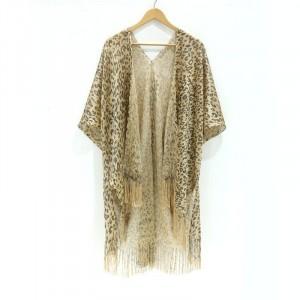 Leopard Print Tassel Outwear Cardigan - Leopard Multicolor