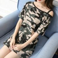 Strap Shoulder Camouflage Printed T-Shirt Mini Dress - Green