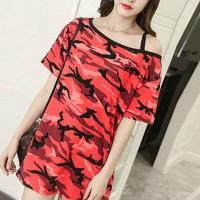 Strap Shoulder Camouflage Printed T-Shirt Mini Dress - Red