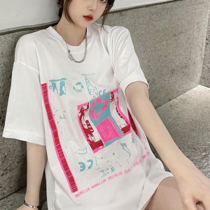 Graphic Printed Round Neck Loose Wear T-Shirt - White