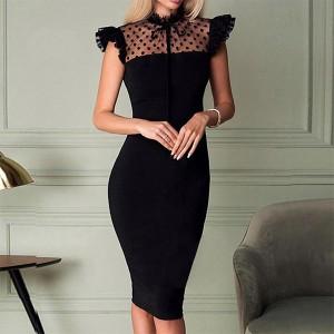 Frilled O Neck Puff Shoulder Midi Dress - Black