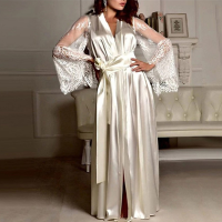 Satin Lace Patched Waist Strap Full Length Sleepwear Gown Lingerie - White