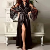 Satin Lace Patched Waist Strap Full Length Sleepwear Gown Lingerie - Black