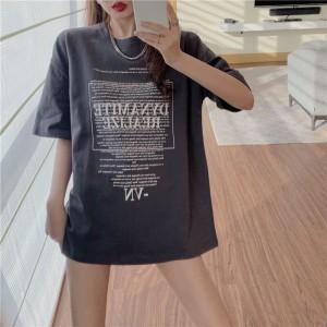 Alphabetic Print Loose Wear Summer Tops - Gray