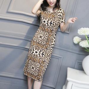 Animal Printed Round Neck Short Sleeves Midi Dress - Brown