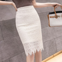 Lace Patched Tassel Body Fitted Formal Skirt - White