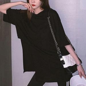 Round Neck Solid Color Irregular Vintage Wear Top - Black