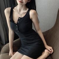 Button Closure Body Fitted Mini Dress - Black