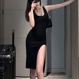 Scoop Neck Sleeveless Body Fitted Split Hem Midi Dress