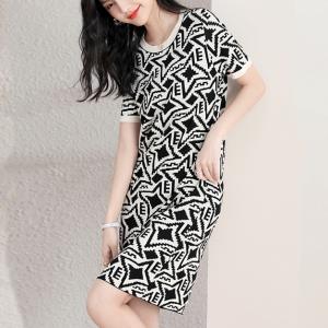Stars Printed Round Neck Short Sleeved Mini Dress - Black