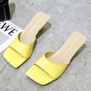 Solid Color Midi Heel Fashion Wear Women Heel Sandals - Light Yellow