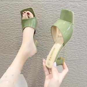 Solid Color Midi Heel Fashion Wear Women Heel Sandals - Green