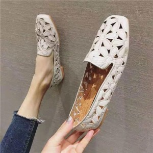 Floral Engraved Flat Wear Shoes - White