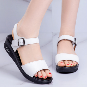 Synthetic Buckle Closure Formal Women Fashion Sandals - White