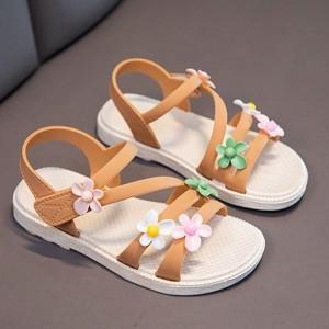 Floral Patch Velcro Closure Flat Kids Wear Sandals - Coffee