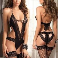 Women Sexy Lace V Neck Playsuit - Black