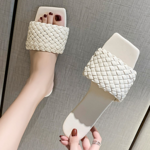 Braided Style Flat Wear Casual Wear Slippers - White