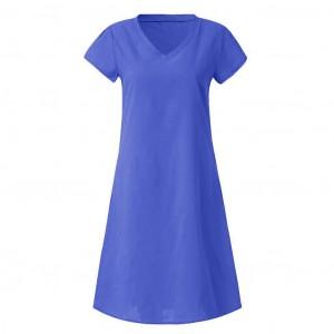 Solid Color V Neck Short Sleeves Mini Dress - Royal Blue