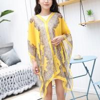 Long Sleeve Sun Protection Bikini Cover Chiffon Fabric Women Blouse - Yellow