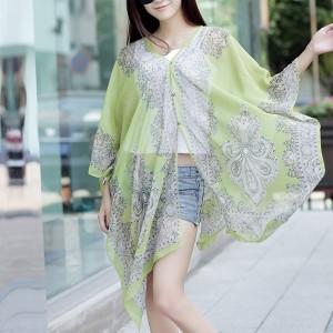 Long Sleeve Sun Protection Bikini Cover Chiffon Fabric Women Blouse - Light Green