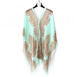 Long Sleeve Sun Protection Bikini Cover Chiffon Fabric Women Blouse - Lake Green