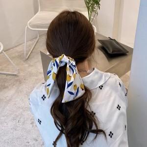 Lovely Ribbons Intestine Hair Ring - White Blue