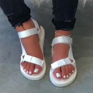 Velcro Canvas Shiny Soft Sole Part Wear Sandals - White