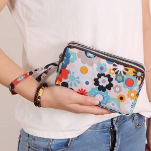 Double Zipper Closure Floral Women Fashion Wallet Handbag - White