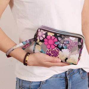 Double Zipper Closure Floral Women Fashion Wallet Handbag - Floral