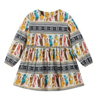 Round Neck Graphic Print Cute Girl Dress - White Multicolor
