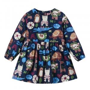 Round Neck Graphic Print Cute Girl Dress - Multicolor