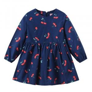 Round Neck Cherry Print Cute Girl Dress - Dark Blue