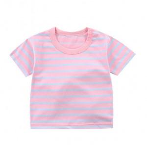Contrast Striped Summer Wear Boys Girls Unisex T-Shirt - Light Pink