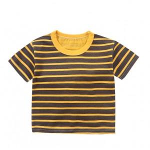 Contrast Striped Summer Wear Boys Girls Unisex T-Shirt - Black Yellow